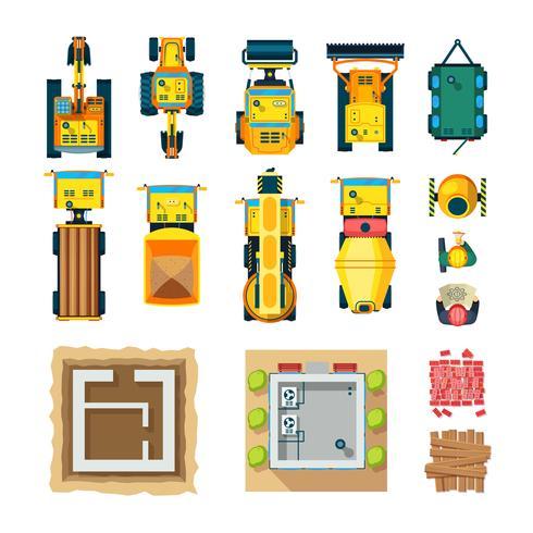 Conjunto de ícones de construção vista superior