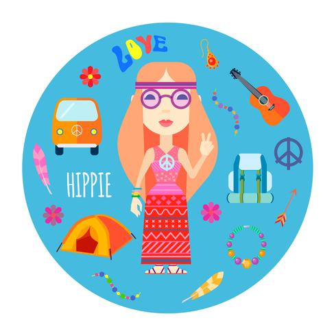 Hippie Character Accessoires Flat Round Illustration