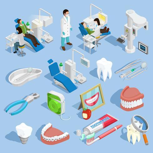 Conjunto de ícones de dentista vetor