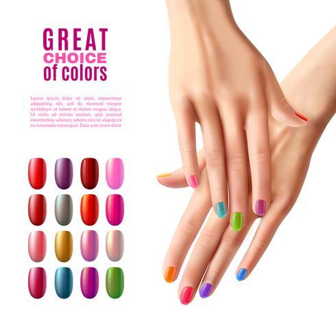 Kleurrijke nagels Set Hands Manicure Poster vector