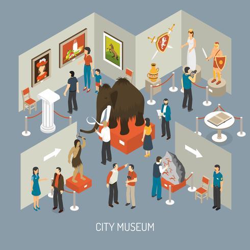 Affiche de composition isométrique du musée