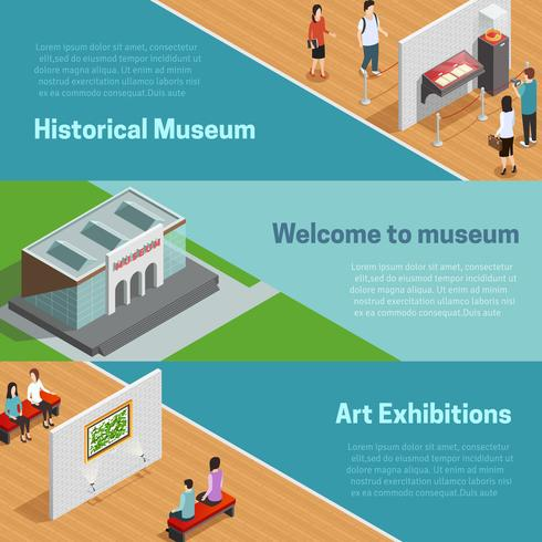 Set di banner isometrica del Museo