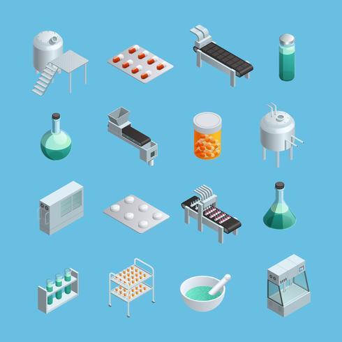 farmaceutiska produktion ikoner uppsättning