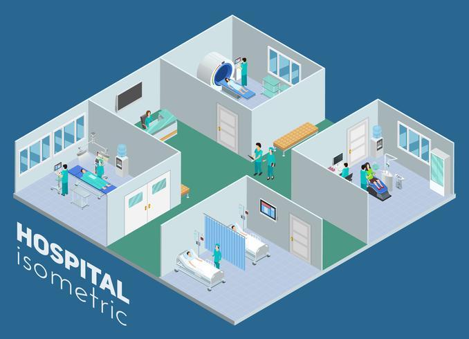 Cartel interior isométrico de la opinión del hospital médico vector