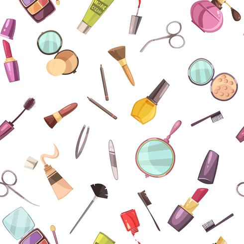 Cosmetic Makeup Accessories Flat Seamless Pattern