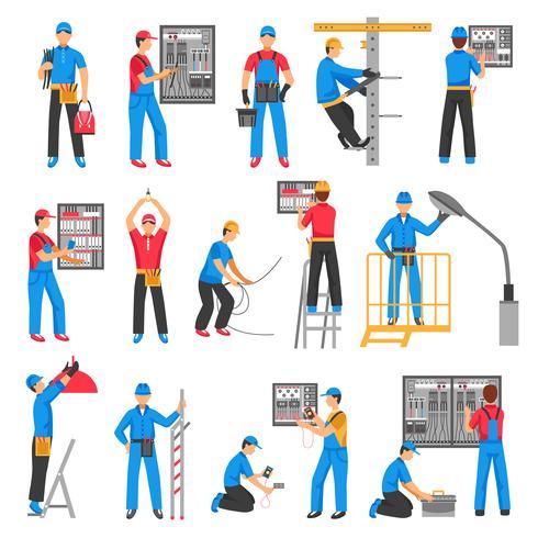 Conjunto de iconos decorativos personas eléctricas vector