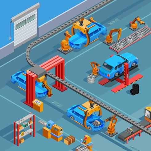 Conveyor Automotive Manufacturing System Isometric Poster  vector
