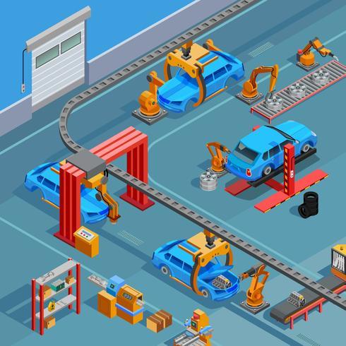 Cartel isométrico del sistema de fabricación automotriz del transportador vector