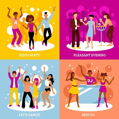Set di icone di concetto di festa in discoteca