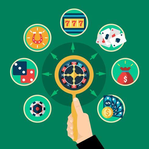 Casino mano ruleta iconos plana redonda composición