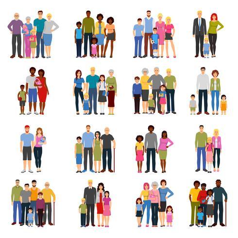 Conjunto de iconos planos de grupos de miembros de la familia vector