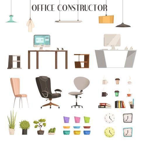 Moderner Bürozubehör-Karikatur-Satz