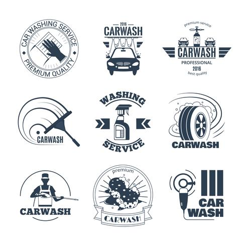 Conjunto de iconos de emblemas negros de lavado de coches