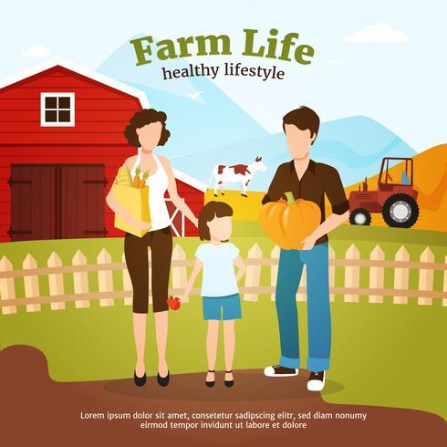 Ilustración de la granja de cosecha de otoño