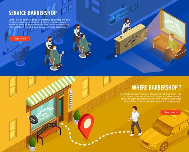 Conjunto de Banners isométricos de barbería