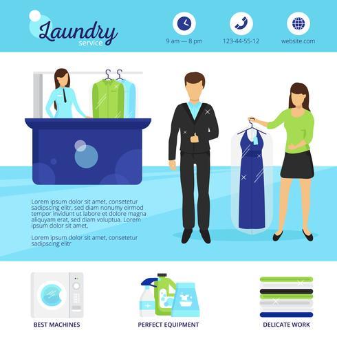 Ilustración de servicio de lavandería vector