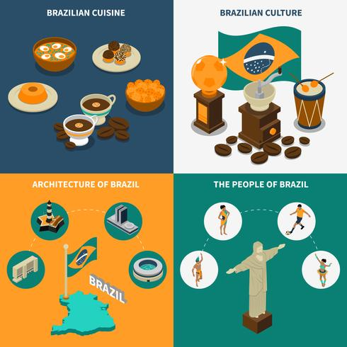 Brazil Concept Icons Set  vector