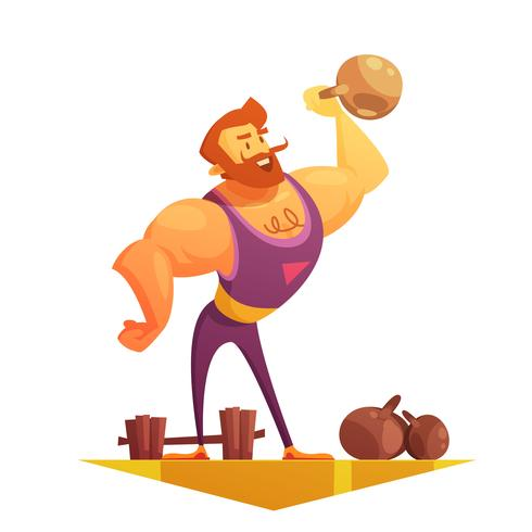 Traveling Circus Strongman Cartoon Retro Ikon