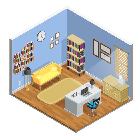 Ilustración de la sala de estudio vector