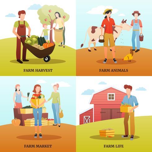 Herfst oogst boerderij ontwerpconcept