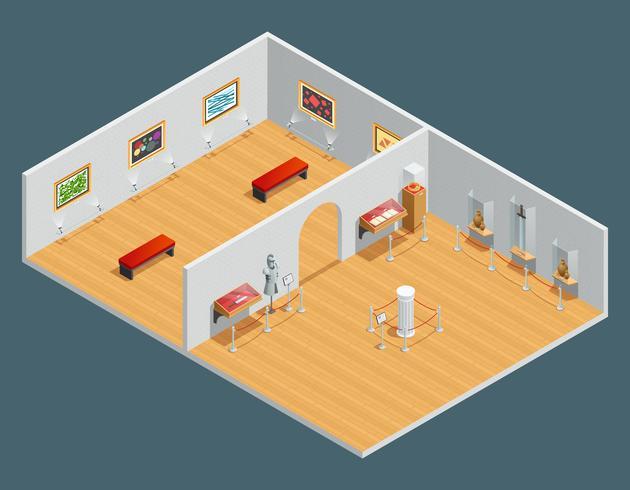 Ilustración isométrica interior