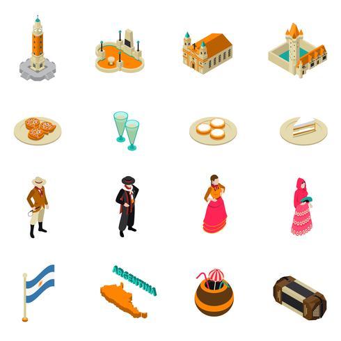 Colección de iconos de símbolos isométricos turísticos argentinos vector