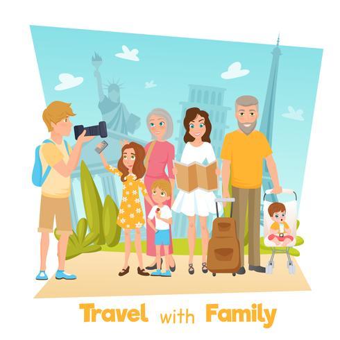Familj Travel Illustration