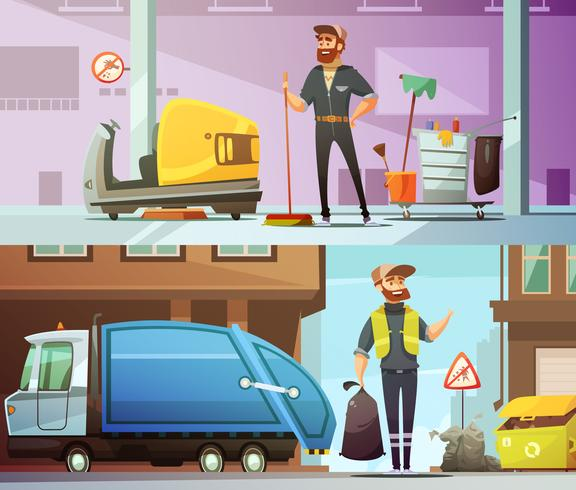 Cleaning Garbage Collecting Cartoon Banners Set vector