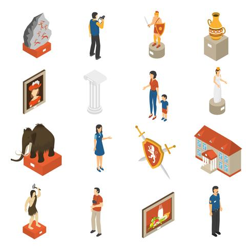 Art Museum Isometric Icons Set