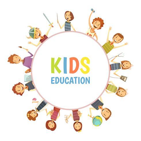 Kids Education Round Frame Cartoon Emblem vector