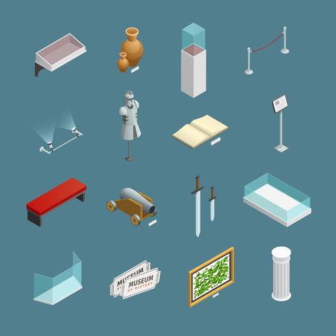 Museum Isometric Icons Set vector