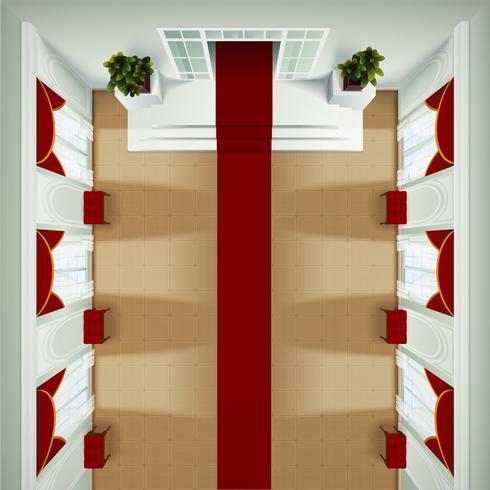 Vista superior del interior del vestíbulo vector