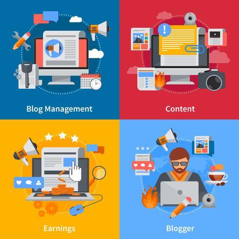 Flache 2x2-Icons für Blogging
