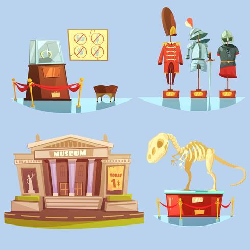 Musée rétro Cartoon 2x2 Flat Icons Set