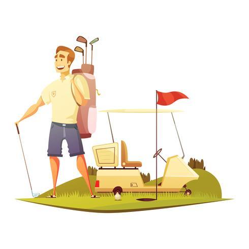 Icône de bande dessinée rétro joueur de golf