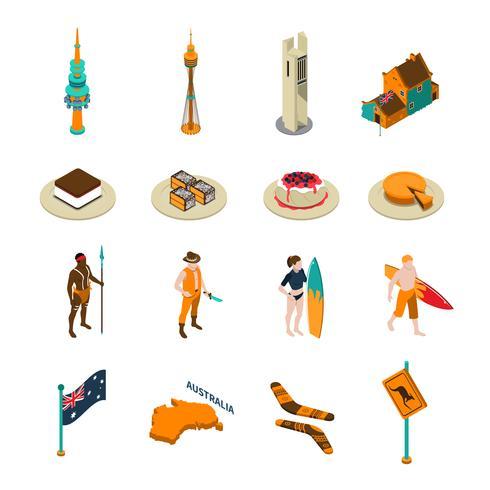 Australische toeristen attractie Isometrische Icons Set