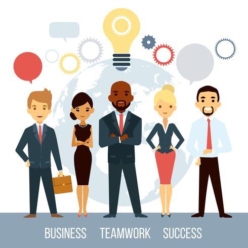 Cooperación empresarial de personas en todo el mundo vector