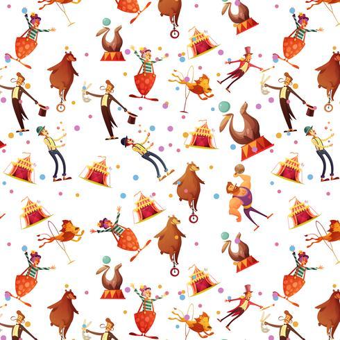 Circus naadloze decoratieve Retro Cartoon patroon vector