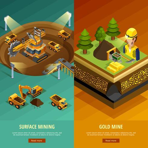 Mining Vertical Banners Set  vector