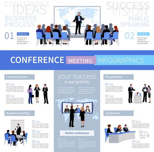 Conferencia reunión personas infografía plantilla