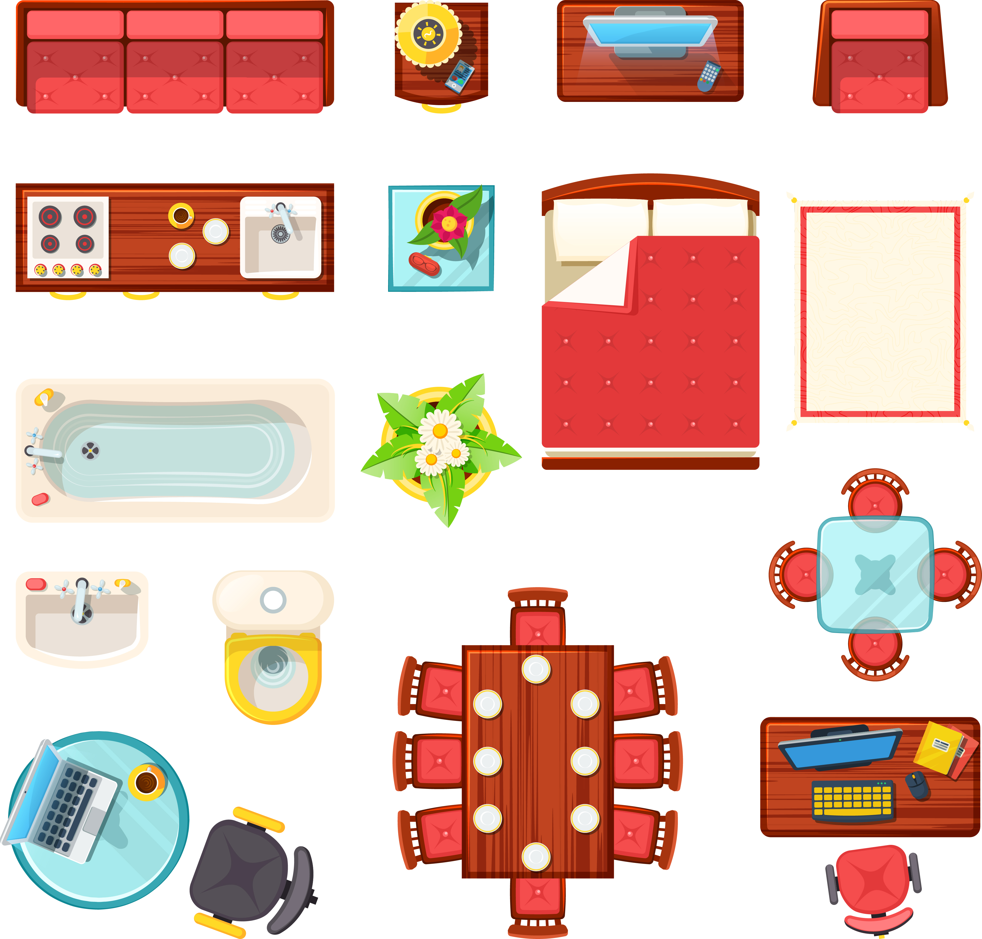 Home Furniture Top View Set - Download Free Vector Art ...