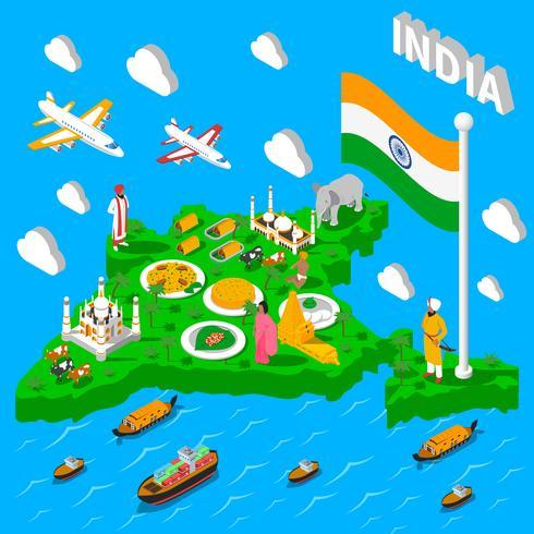 Indien karta turistisk isometrisk affisch