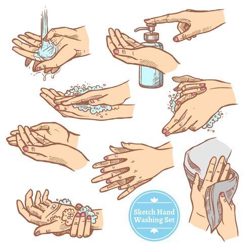 Skiss Händer Tvätt Hygien Set