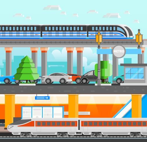Conceito de design subterrâneo de metrô vetor