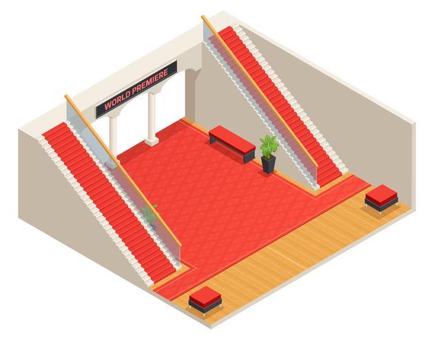 Ilustração isométrica interior de escadas