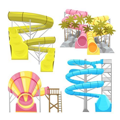 Conjunto de imagens de equipamentos Aquapark vetor