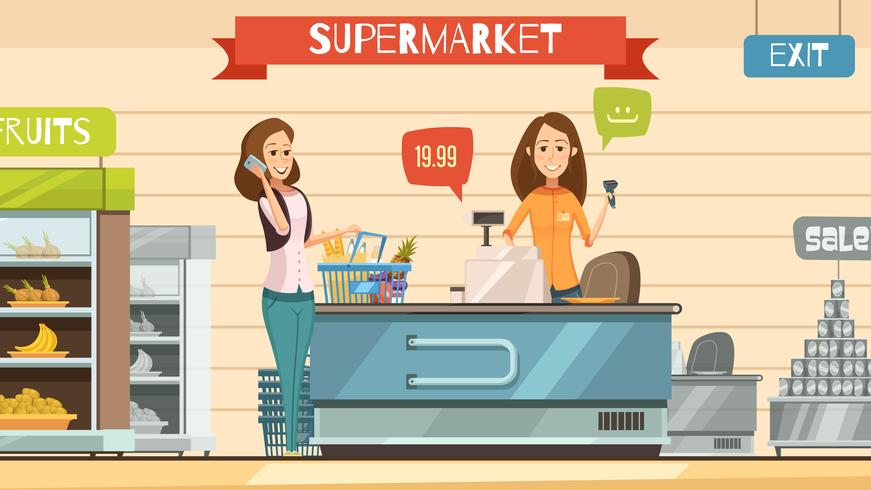 Supermercado Cajero en Registro Retro Cartoon Poster vector