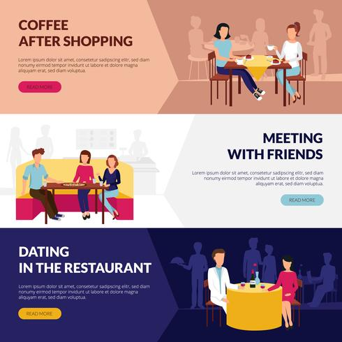 Restaurant Service For Visitors Flat Banners  vector