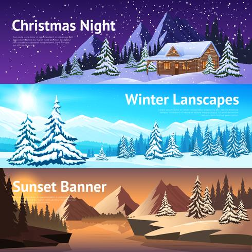 Vinterlandskap Horisontella Banderoller