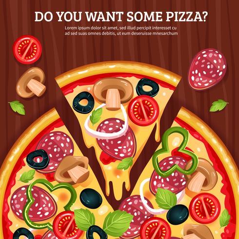Pizza en el fondo de la tabla de madera vector